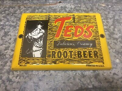Ted's Root Beer Ted Williams Porcelain Metal Soda Pop, Gas & Oil Sign