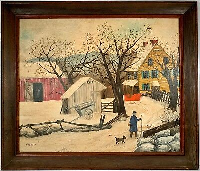 American School Folk Art Winter Landscape Oil On Board Painting Signed H. Hackl