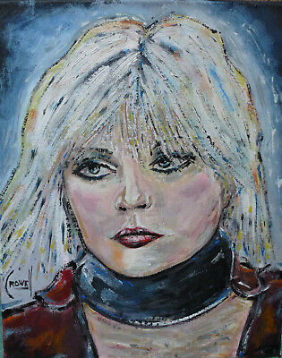DEBBIE Blonde portrait oil painting 8x10 canvas original signed art by Crowell