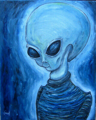 UFO ROSWELL ROBERT Area 51 alien 16x20 oil painting canvas ET original Crowell