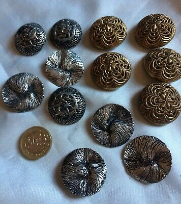 Old Vintage  Lot Of 13 Metal Tone Buttons Biggest 30cm,filigree & others