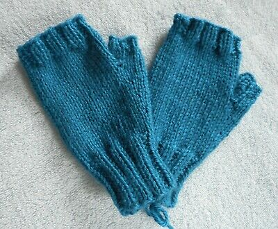 Fingerless Hand Knit Mittens Gloves Handwarmers  Royal Blue Solid  NEW!