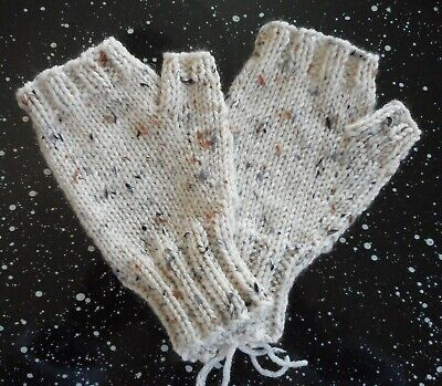 Fingerless Hand Knit Mittens Gloves Handwarmers Natural Ivory with Flecks  NEW!