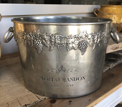 Vintage French MOET&CHANDON CHAMPAGNE BUCKET,Pewter,RARE!!