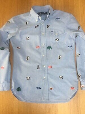 Ralph Lauren RRL Mens M 42in Embroidered Bulldog Polo Varsity Rugby Shirt VGC
