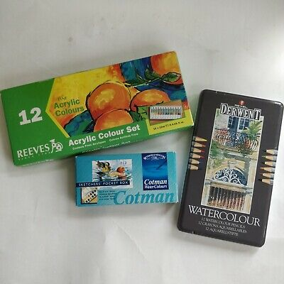 Derwent Watercolour Pencils - Watersoluble - 12 Colour Tin package, see listing