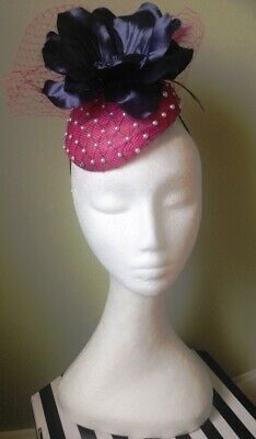 Pink Fascinator for Wedding Races Occasion Fuschia Cerise Navy Floral Veiling