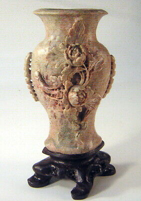 """Carved Soapstone Vase Sculpture on Base W/ Flowers/ Leaves~ 7 7/8"""" Tall~ Signed?"""