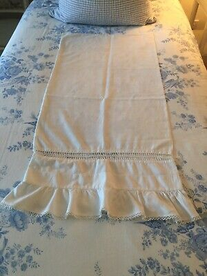 Antique Handmade Ruffled Pillow Case With Tatting