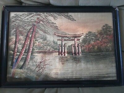Japanese Water Temple Embroidered Picture