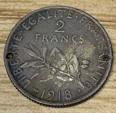 1918 2 Francs France Silver Coin. Reverse Engraved!!!