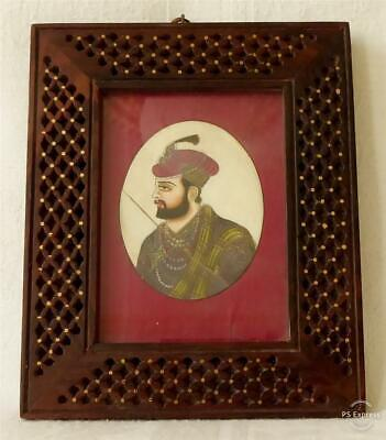 Antique Early 19Th Century Indian Mogul Painted Portrait Miniature Of A Nobleman