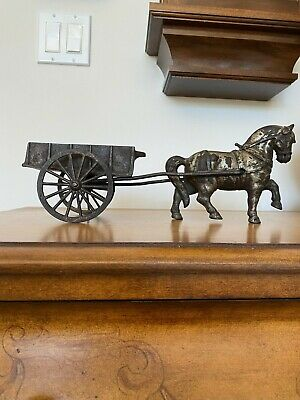 antique cast iron horse and cart