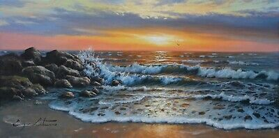 J. Litvinas Original Oil Painting 'SUNSET' 20 by 10 inches