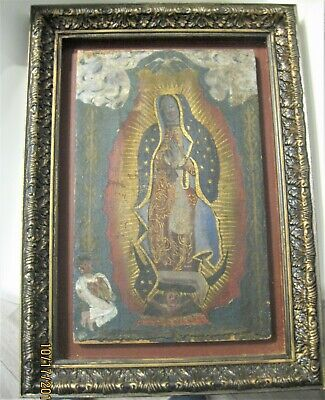 Original Antique Retablo On Cloth Over Wood Our Lady Of Guadalupe Framed