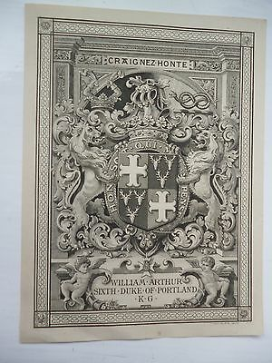 Very good,clean, unmarked  Bookplate of Duke of Portland by J A C Harrison 1900