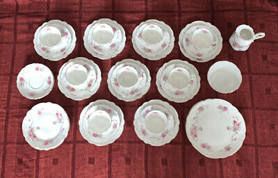 37 Piece Vintage Afternoon Tea Set, Bone China, Roses, 9 Trios And More