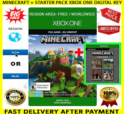 Minecraft + incl. Starter Pack Xbox One Full Game Digital Key Code Region Free
