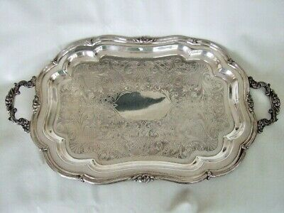 Huge ornate silver plate butler's tray 1881 Rogers Canada #7389