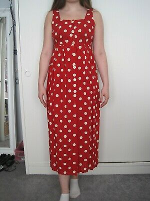 Next summer dress red and white polka dot size 8 vgc