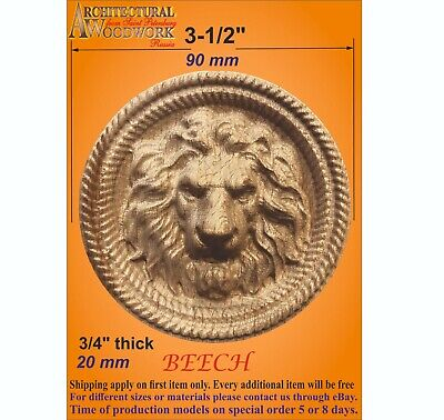 Details about  /Wood carved Rosette with Lion Head