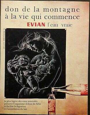 Publicité papier Advertising 1961  Water Eau EVIAN  20 cm x 26 cm