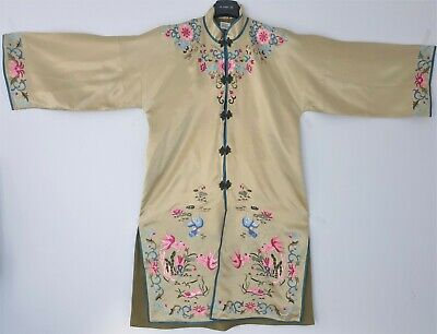 Old Vintage Chinese Silk Kimono Hand Embroidered Size L