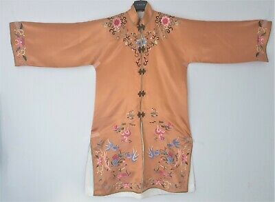 Old Vintage Chinese Silk Kimono Hand Embroidered Size M