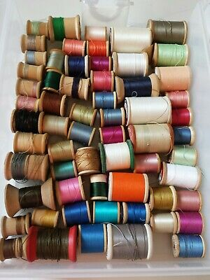 Huge Lot 50+ Sewing Thread Wooden Spools JP Coats Clark Aunt Lydia Belding Talon