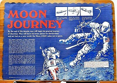 RARE ORIGINAL 1960s MOON JOURNEY - PREDICTING FIRST MAN ON MOON PLACEMAT SCARCE