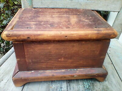 Early Primitive Wooden Miniature Dovetail Footed Chest 6 Board Signed Dm 1836