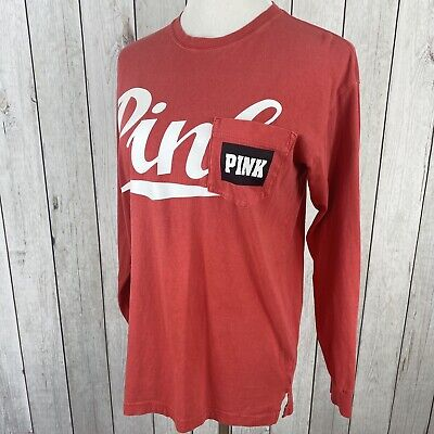 Pink Victoria Secret Womens Size XS Long Sleeve Relaxed Fit Pocket T-Shirt Top