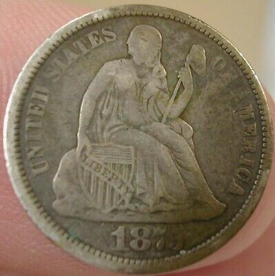 1875 CC CARSON CITY Above Bow Silver Seated Liberty Dime Nice Full Liberty #5