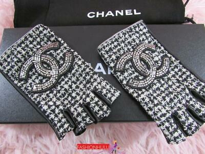 CHANEL Embellished CC Fingerless Quilted Black Ivory Tweed Gloves