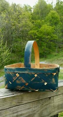 Primitive Basket Painted Old Blues For A Great Antique Look