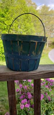Primitive Round Berry Basket Painted Old Blues For A Great Antique Look