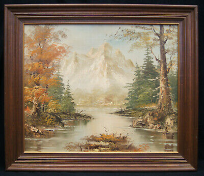 """S. Hills """"White River"""" Signed Oil on Canvas Painting Original Framed 25x29"""""""