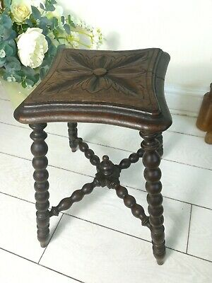 Oak Bobbin Leg Turned Antique Stool Table Four Legs 46cm 25cm sq