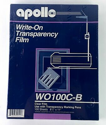 Apollo Write On Transparency Film Clear 100 Sheets 8.5 x 11 in WO100C-B Infrared