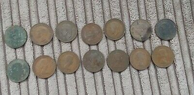 14 Old Half Penny Coins