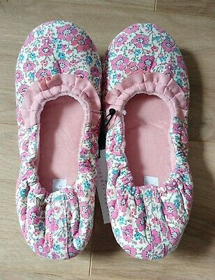 BNWT Floral MEMORY FOAM LIBERTY FABRICS SLIPPERS size 3 4