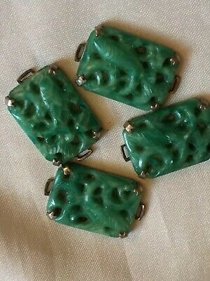 Fine Old Chinese Carved Jade Vintage Costume Jewellery Semi-Precious Stones