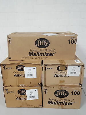 500x Size 1 Jiffy Bags Mailmiser White 5 Boxes