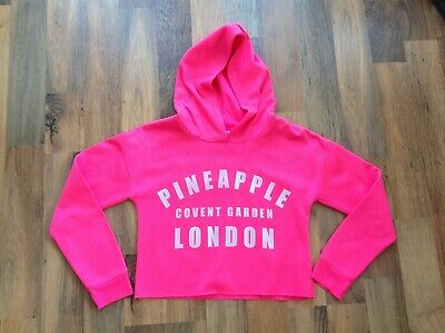 Girls pink hoodie, Pineapple Dance, cropped body, age 12-13