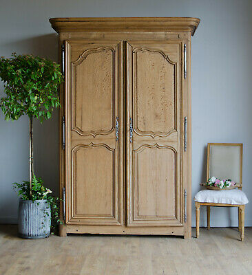 Antique Late 18C French Oak Armoire Wardrobe Linen Press Cupboard with Shelves
