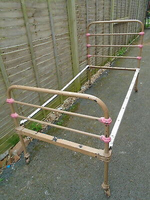 antique,? early 1900's, metal,cast iron,single,3',bed frame,beds,single bed