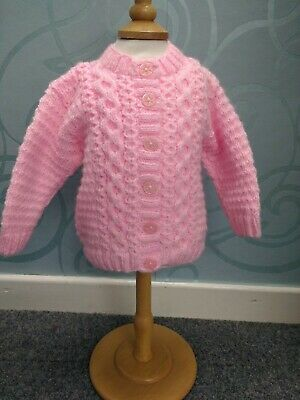 New: Hand Knitted Baby Girl Pink Cardigan Aran Style 6-12mths