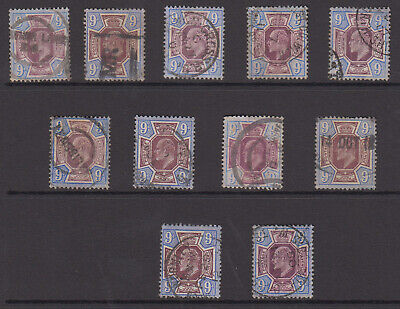 GB EDVII 9d stamps, a specialised study of used shades & postmarks, high Cat Val