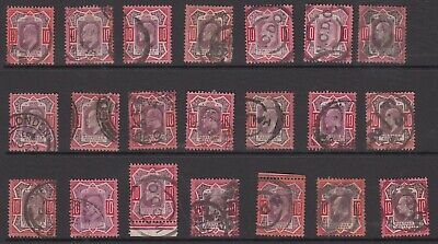 GB EDVII 10d stamps a specialised study of used shades & postmarks, high Cat Val