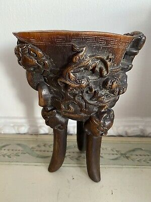 Chinese Libation Cup Tripod Supports Climbing Kylin Archaic Decoration Jue Form